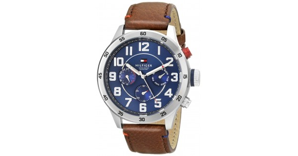 e2c4e22f Tommy Hilfiger Men's 1791066 Stainless Steel Watch With Brown Leather Band