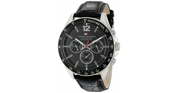 d8ce995e3 Tommy Hilfiger Men's 1791117 Sophisticated Sport Watch With Black Leather  Band