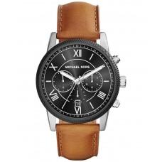 مايكل كورس ساعة رجالية هاوثرن بقرص أسود و حزام بني