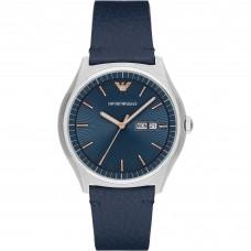 امبوريو ارماني ساعة رجالية سوار جلدي أزرق