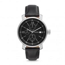 فوسيل ساعة رجالية ريت كورنغراف جلد أسود