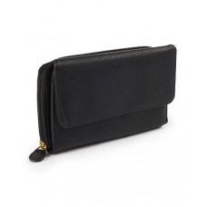 موندي محفظة جلدية نسائية بحجم كبير وحماية فائقة , اسود