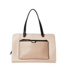 حقيبة يد نسائية توتيلو جلدية لون زهري_بيج