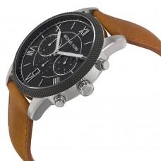 Michael Kors Hawthrone Black Dial Brown Leather Men's watch