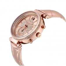 MICHAEL KORS Sawyer Rose Gold Crystal Pave Dial Leather Ladies Watch