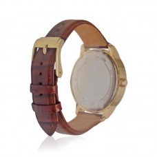 Womens Michael Kors Kinley Brown Leather Glitz Gold Tone Watch
