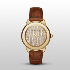 Michael Kors Kinley Brown Leather Glitz Gold Tone Womens Watch