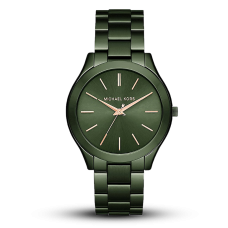 مايكل كورس سليم رنواي  ساعة نسائية بثلاث عقارب مطلي بالايون , اخضر زيتوني
