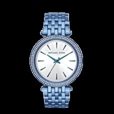 مايكل كورس دارسي اي بي ساعة نسائية بثلاث عقارب مطلية بالايون , زرقة المحيط