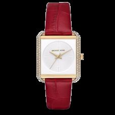 ساعة نسائية مايكل كورس ليك ذهبية و حزام جلد غارنيت بثلاثة عقارب