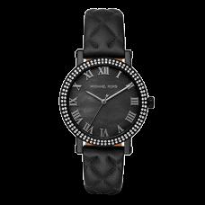 مايكل كورس نوري ساعة نسائية بسوار جلد و3 عقارب مطلية بالايون , اسود