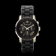 مايكل كورس رنواي ساعة نسائية متوسطة الحجم بسوار مطاطي , اسود