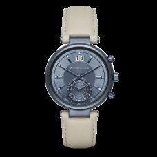 ساعة نسائية مايكل كورس سوير لون بحري آي بي كرونوغراف و حزام جلدي لون اسمنتي