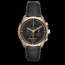 ساعة نسائية مايكل كورس سلاتر ذهبية و حزام جلدي أسود كرونوغراف