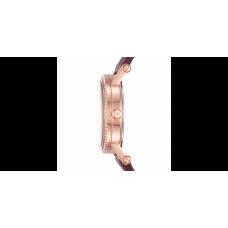 ساعة نسائية مايكل كورس نوري ذهبية وردية حزام جلدي لون عنابي