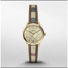 84ecc86e11706 ساعة بربري كلاسيك راوند النسائية بسوار نسيجي متعدد الألوان و علبة ساعة ذهبية