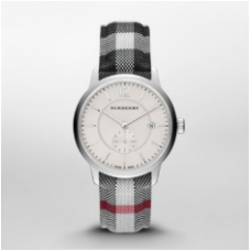 ساعة بربري كلاسيك راوند الرجالية بسوار نسيجي أوف وايت و علبة ساعة فضية