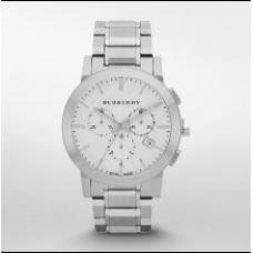 ساعة بربري الرجالية ذا سيتي قرص أبيض كرونوغراف و ستانلستيل فضي