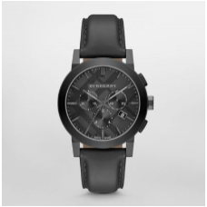 ساعة بربري الرجالية ذا سيتي قرص أسود كرونوغراف و سوار جلدي لونه ستانلستيل
