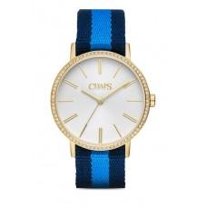 ساعة شابس النسائية الذهبية باللون الابيض البحري وحزام نسيجي ازرق متدرج