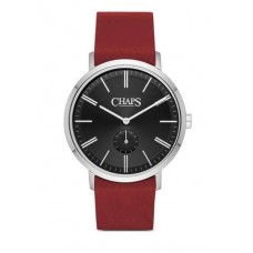 Chaps Dunham Red Leather and Stainless Steel Three Hand Watch