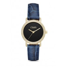 Chaps Petite Whitney Gold-Tone and Blue Leather Three-Hand women's Watch