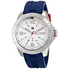 ساعة تومي هيلفيجر فاخرة سستانليس مع السيليكون الأزرق
