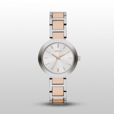 DKNY Sasha Silver-Tone and Rose Gold-Tone Link Watch