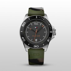 Tommy Hilfiger Men's Green Camouflage Silicone Strap Watch