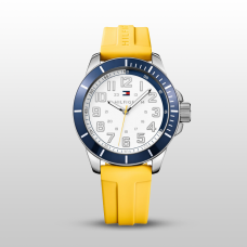 Tommy Hilfiger Men's Yellow Silicone Strap Watch 47mm 1791147