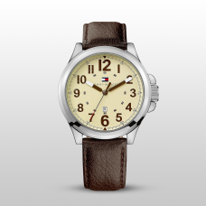 Tommy Hilfiger Watch, Brown Leather Strap