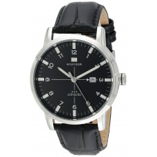 58af1a5ce Tommy Hilfiger Men's 1710330 Stainless Steel Watch with Black Genuine  Leather Band ...