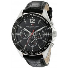 ea93f31a40e80 Tommy Hilfiger Men s 1791117 Sophisticated Sport Watch With Black Leather  Band ...